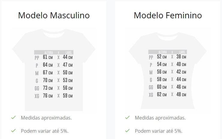 Medidas das Camisetas